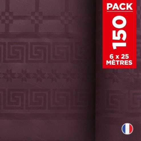 Pack 6 nappes en damassé aubergine. 25 mètres.