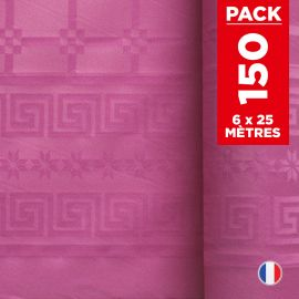 Pack 6 nappes en damassé fuchsia. 25 mètres.