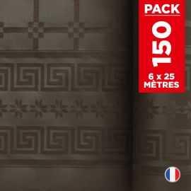 Pack 6 nappes en damassé chocolat. 25 mètres.