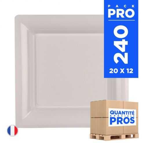 240 Assiettes 16,5 cm. Blanc. Recyclables - Réutilisables.
