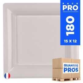 180 Assiettes 21,5 cm. Blanches. Recyclables - Réutilisables.