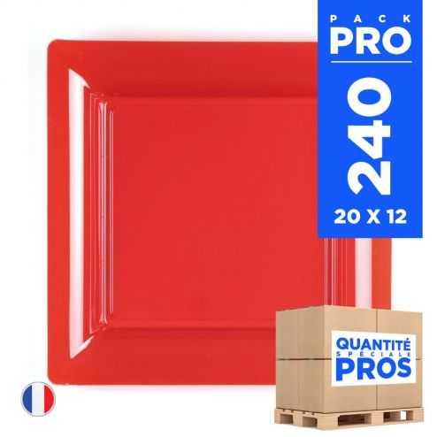 240 Assiettes 16,5 cm. Rouge. Recyclables - Réutilisables.