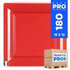 180 Assiettes 21,5 cm. Rouge. Recyclables - Réutilisables.
