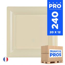 240 Assiettes 16,5 cm. Ivoire. Recyclables - Réutilisables.