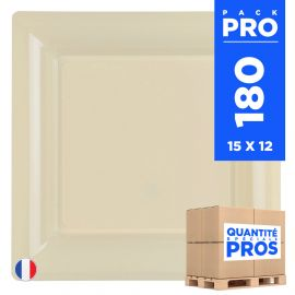 180 Assiettes 21,5 cm. Ivoire . Recyclables - Réutilisables.