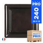 240 Assiettes 16,5 cm. Noir. Recyclables - Réutilisables.