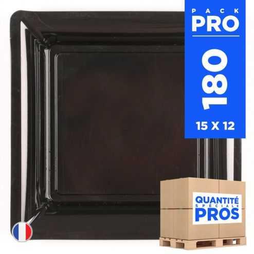 180 Assiettes 21,5 cm. Noir. Recyclables - Réutilisables.