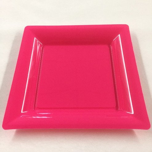 Assiettes en plastique carrées fuschia