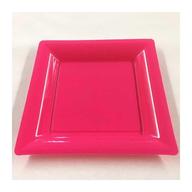 assiettes en plastique carr es fuschia vaisselle jetable. Black Bedroom Furniture Sets. Home Design Ideas