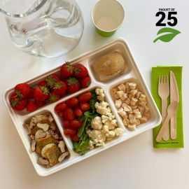 25 Plateaux repas 5 cases Biodégradables - compostables