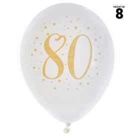 8 ballons gonflables 23 cm joyeux anniversaire 80 ans métal