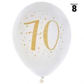 8 ballons gonflables 23 cm joyeux anniversaire 70 ans métal
