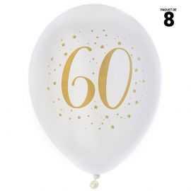 8 ballons gonflables 23 cm joyeux anniversaire 60 ans métal