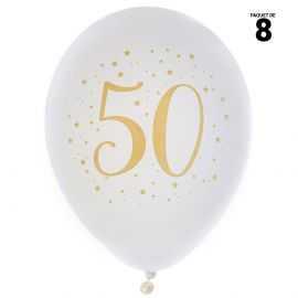 8 ballons gonflables 23 cm joyeux anniversaire 50 ans métal