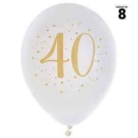 8 ballons gonflables 23 cm joyeux anniversaire 40 ans métal