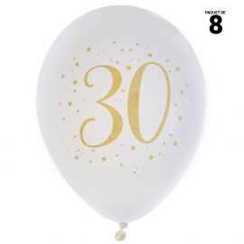 8 ballons gonflables 23 cm joyeux anniversaire 30 ans métal