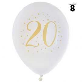 8 ballons gonflables 23 cm joyeux anniversaire 20 ans métal