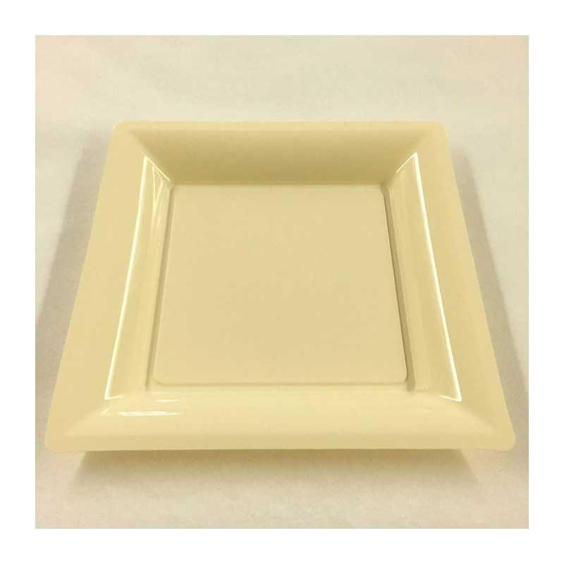 assiettes en plastique carr es ivoire vaisselle jetable discount. Black Bedroom Furniture Sets. Home Design Ideas