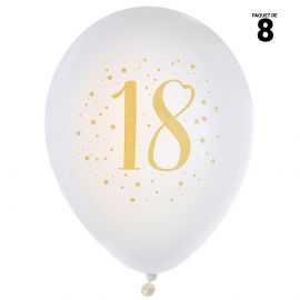8 ballons gonflables 23 cm joyeux anniversaire 18 ans métal