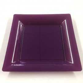 Assiettes en plastique carrées aubergine