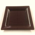 Assiettes en plastique carrées chocolat