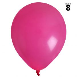 8 ballons gonflables 23 cm fuchsia unis