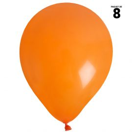 8 ballons gonflables 23 cm orange unis