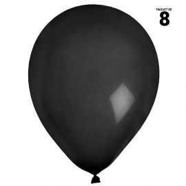 8 ballons gonflables 23 cm noirs unis