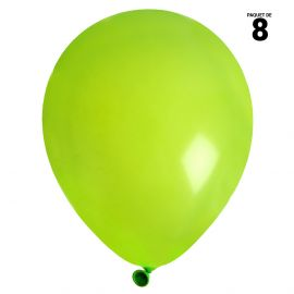 8 ballons gonflables 23 cm verts unis