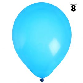 8 ballons gonflables 23 cm turquoise unis