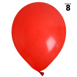 8 ballons gonflables 23 cm rouges unis