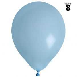 8 ballons gonflables 23 cm bleu pastel unis