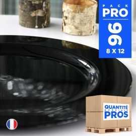96 Assiettes luxe 19 cm. Recyclables - Réutilisables. Noires.