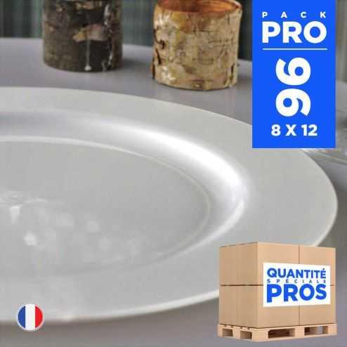 96 Assiettes luxe 19 cm. Recyclables - Réutilisables. Blanc nacré.