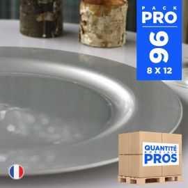 96 Assiettes luxe 19 cm. Recyclables - Réutilisables. Gris argent.