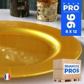96 Assiettes luxe 19 cm. Recyclables - Réutilisables. Or.