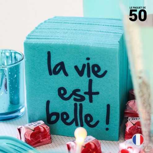 Serviette papier cocktail décor La vie est belle. 20 cm x 20cm. Par 50.