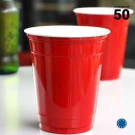 50 Gobelets rouges américains 35 cl