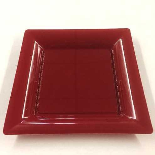Assiettes en plastique carrées Bordeaux