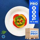 1000 Assiettes carton 18 cm. Biodégradables. Blanches.