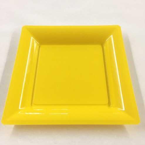 Assiettes en plastique carrées Jaune