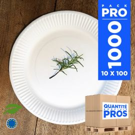 1000 Assiettes carton 23 cm. Biodégradables. Blanches.