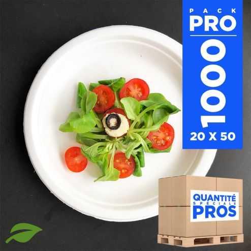1000 Assiettes rondes 17 cm. Fibre biodégradable. Blanches.