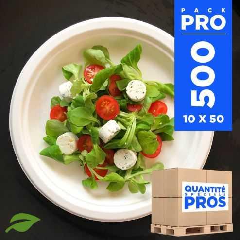 500 Assiettes rondes 23 cm. Fibre biodégradable. Blanches.