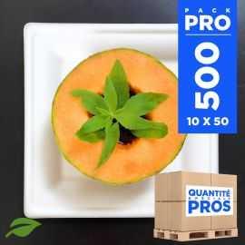 500 Assiettes carrées 16 cm. Fibre biodégradable. Blanches.