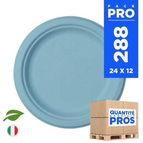 288 Assiettes rondes 18 cm. Fibre biodégradable. Bleu macaron.
