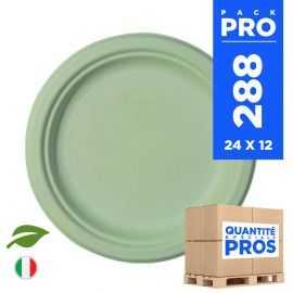 288 Assiettes rondes 18 cm. Fibre biodégradable. Vert macaron.