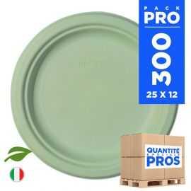 300 Assiettes rondes 23 cm. Fibre biodégradable. Vert macaron.