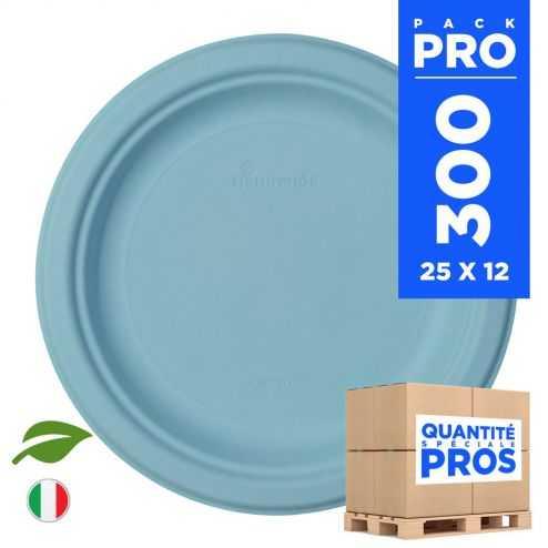 300 Assiettes rondes 23 cm. Fibre biodégradable. Bleu macaron.