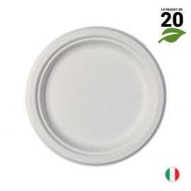 Assiette Bio blanc macaron 18 cm. Home compost. Fibres végétales. Par 20